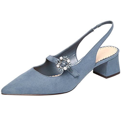 Azbro Women's Pointed Toe Slingback Chunky Heels Slip on Pumps Blue BTp5OJRv