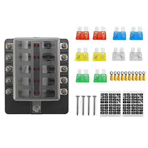 Zitainn 32 V Sicherungskastenhalter Kunststoffabdeckung M5 Bolzen Mit LED-Anzeigelampe 10 Möglichkeiten Klinge für Auto Auto Boot Marine Trike -