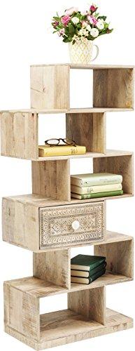 Kare Design Regal Puro Zick Zack, Raumtrenner mit einer Schublade, Bücherregal, Braun (H/B/T) 60x50x40cm