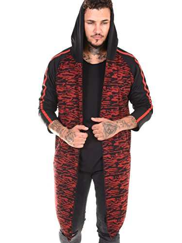 BAXMEN CULTWEAR Herren Cardigan Hoodie Destroyed Jacke Lang Strickjacke Hooded Long Sweatjacke Lang Vintage Slim Fit 23. Rot Camouflage Medium