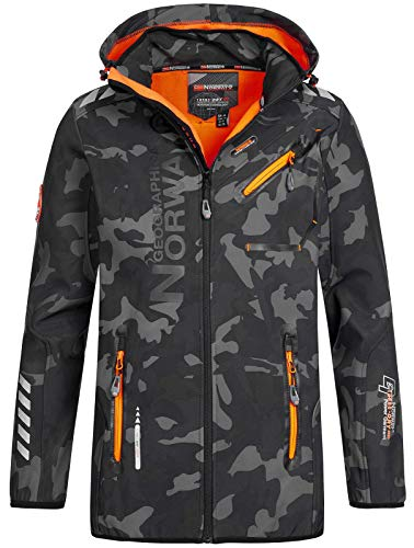 Geographical Norway Herren Softshell Outdoor Jacke Rainman/Royaute Camo Turbo-Dry Kapuze Black/orange XL