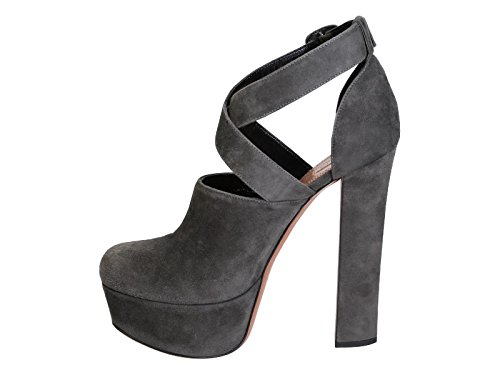 Sandales à talons hauts platforme Alaïa en daim gris - Code modèle: AIT299 0UE F0170 Gris