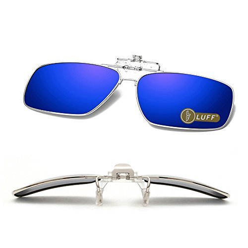 Clip en las gafas de sol polarizadas Mens / womens Flip up polarizado lentes de sol caber sobre gafas graduadas / lectores / deportes al aire libre (Azul)
