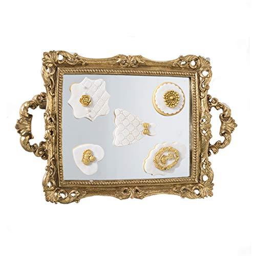 Crown Bandejas de joyería Decorativa, Bandeja de Espejo Rectangular de Metal Europeo Bandeja de tocador...