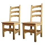 Elean 2 er Set Esszimmerstuhl (HSL-01) Holzstuhl Kuechenstuhl Kiefer massiv Stuhl mit Lehne zusammengebaut 14 Farbvarianten (Natur geölt)