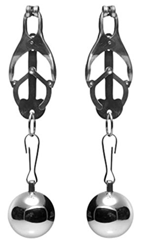Nippelklemmen mit Gewicht aus Edelstahl Silber Master Series (2 Stück)