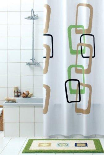 Duschvorhang Quadro-Nero weiss,braun, grün, schwarz 120cm breit x 200cm lang Vinyl inkl. Ringe (Weiß Und Braun Duschvorhang)