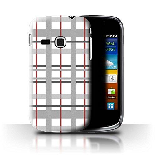 Stuff4 Custodia/Cover/Caso/Cassa Rigide/Prottetiva Stampata con Il Disegno Moda Inverno per Samsung Galaxy Mini 2/S6500 - Griglia Bordeaux
