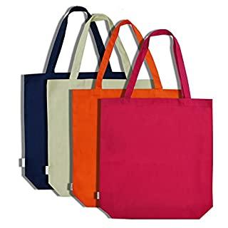 Augbunny 100% Cotton Canvas Shopping Tote Bag Grocery Bag 4-pack (Multi)