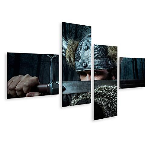 islandburner, Bild Bilder auf Leinwand Verteidigung, Wikinger-Krieger, im barbarischen Stil gekleideter Mann mit Schwert, bärtig Wandbild, Poster, Leinwandbild OSM-4LP-DE6