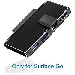 Surfacekit Accessoires Microsoft Surface Go, adaptateur Ethernet Surface Go dispose d'un port Gigabit Ethernet (1000 Mbps), prise en charge HDMI 1080p/60 Hz sortie 4k, 2 ports USB 3.0