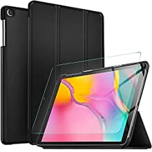 IVSO Screen Protector with Cover Case for Samsung Galaxy Tab A T510/T515 2019, Clear Tempered Screen Protector with Slim PU Cover Case for Samsung Galaxy Tab A 10.1 T510/T515 2019, Black + 1 Pack