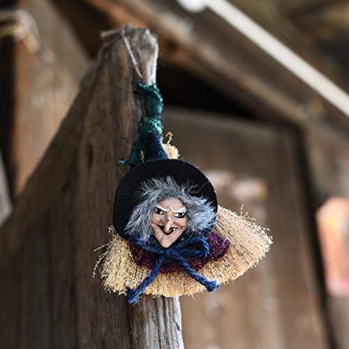 Yeucan Hexe Besen Spielzeug Halloween Anhänger Ghost Party Dekoration Scary Ghost Puppe Horror Spielzeug, W016 rote Hexe Hexen Geldbörse