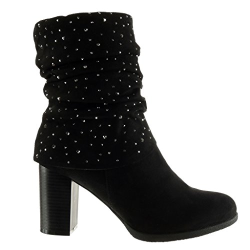Angkorly Damen Schuhe Stiefeletten - Flexible - Classic - Strass Blockabsatz High Heel 8 cm Schwarz