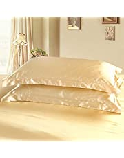 Dehman 2X 100-Percent Silky Satin Pillowcase for Hair Beauty, Prevent Side Sleeping Wrinkles, Have Good Dreams