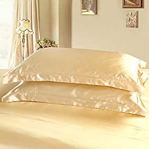 Dehman 2X 100-Percent Silky Satin Pillowcase for Hair Beauty, Prevent Side Sleeping Wrinkles, Have Good Dreams (Light Tan, Queen Size, 20X30 INCHES)