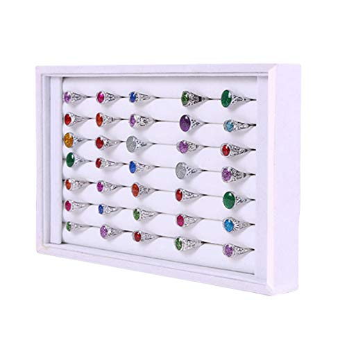 YCdeying Velvet Schmuck Ohrring Ring Display Organizer Box Tray Holder(None White)