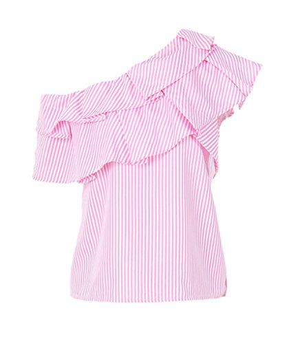 Smile YKK One-Shoulder Gestreift Sommer Damen Kurzarm Shirt/T-shirts/Oberteil/Hemd M Pink