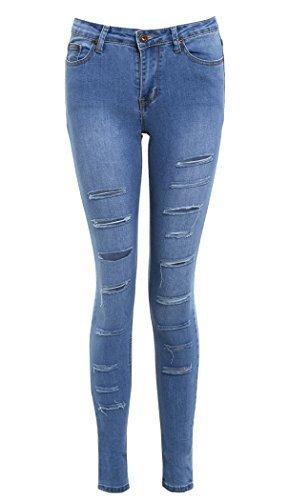 SS7 nouvelles femmes Déchiré Jeans Moulant, Bleu, Tailles 34 pour 14 Jean Bleu
