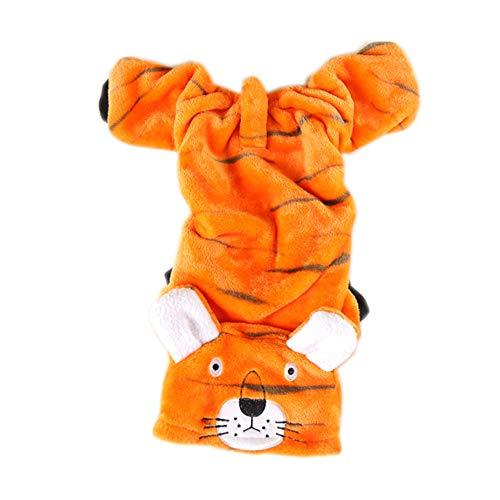XGPT Katzen Hund Kostüm Jumpsuit Hundebekleidung Cartoon Orange Tiger Plüsch Stoff Kostüm Für Haustiere Männer Frauen Niedlichen Urlaub Cosplay Halloween,M (Orange Tiger Katze Kostüm)