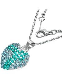 Fashion Kristall Liebe Herz Charm Halskette mit Schmucksteinen - Blau