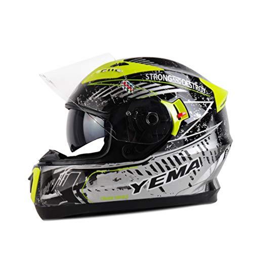 Moto Motorrad Unisex Motorrad Integralhelm Off-Road Doppellinse Motorradhelme Motocross Sportwagen-Schutzkappe 11 Farben XL