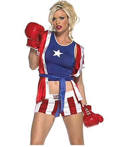Top Totty Super Sexy Damen Box-Kostüm (Top-10-boxhandschuhe)