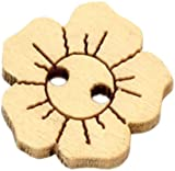 Pack of 20 - 2 Holes Flower Wooden Buttons, for Sewing, Scrapbooking, Embelishments, Crafts, Jewellery making, shabby chic, Knitting, 15x15mm