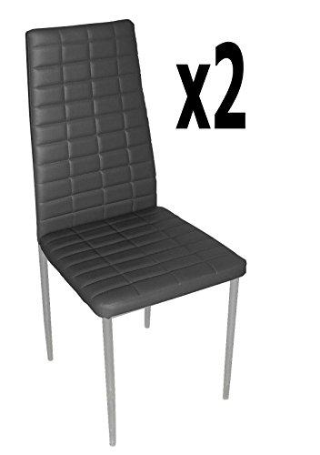 Lot de 2 chaises longues de salon en PU coloris noir, 500 x 415 x 950 mm -PEGANE-