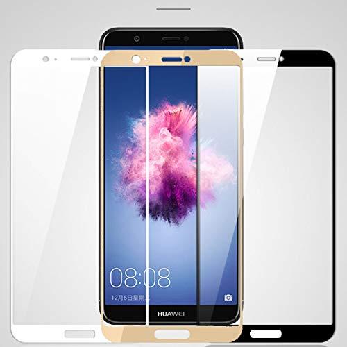 LOUQBH 2 Stück Full-Cover-Schutzglas für Huawei P Smart 2019 Bildschirmschutzfolie auf Huaweey PSmart Plus Frontsicherheits-Hartglas-Folie, Gold, p smart