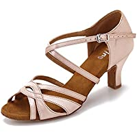 1ed5828046817 YYTing Chaussures de Danse Femme Latine Salsa Salon Noir Beige 6cm Talon  YT01