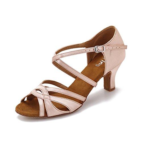 Zapatos de Baile de salón para Mujer Zapatos de Baile Latino de Salsa Bachata actuación(39, Beige)