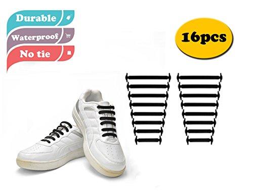 MX coloré sans lacets de chaussures pour enfant et adulte–étanche en silicone Lacets noir