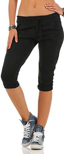 Malito Damen Kurze Hose | lässige Boyfriendhose | Sweatpants in Unifarben | Pants - Bermuda -Jogginghose 83701 (schwarz) -