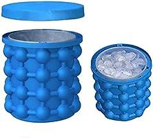 Bac à Glaçon Ice Cube Maker Genie, Pawaca 2 In1 Fonction Silicone Moule de Cube de Glace pour Whisky, Cocktail et Toute Boisson
