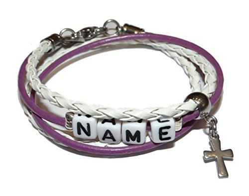 ARTemlos® Handmade Kinder-Armband mit Name aus Edelstahl und Leder (061y)