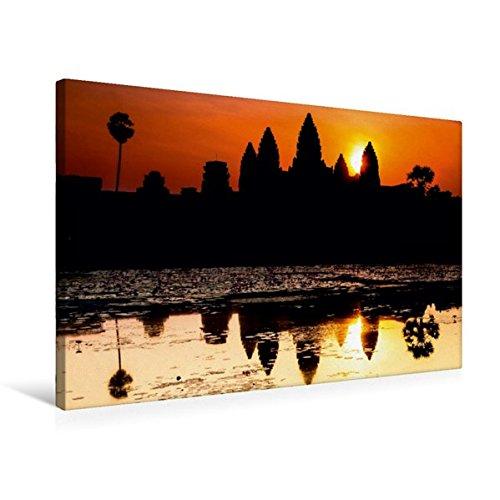 Calvendo Premium Textil-Leinwand 75 cm x 50 cm Quer, Angkor Wat | Wandbild, Bild auf Keilrahmen, Fertigbild auf Echter Leinwand, Leinwanddruck: Kambodscha Orte Orte