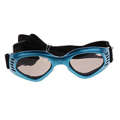 Homyl Hundeschutzbrille Hundebrille Sonnenbrille UV Augenschutzbrille Wasserdicht Brille für Kleine & Mittelgroße Hunde - Blau