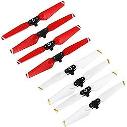 Anbee Spark Accessories, Hélice Coloreada Plegable 4730F para DJI Spark Drone, Juego de 4 piezas (Rojo + Blanco, 2 juegos)