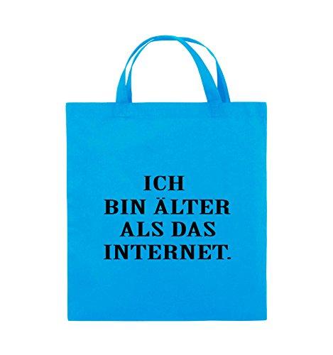 Borse Comiche - Sono Più Vecchio Di Internet - Borsa Di Juta - Manico Corto - 38x42cm - Colore: Nero / Argento Azzurro / Nero