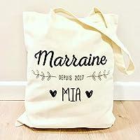 Tote bag Marraine personnalisé (prénom) - Totebag Marraine - Sac cabas idée cadeau Marraine ❤