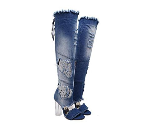 Cowboy Sandalen Lace Up Charming Transparente 11 cm Chunky Ferse Peep Toe Casual Feminine Tube High Stiefel Sandalen EU Größe 34-40 days blue