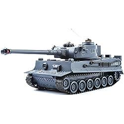 GizmoVine RC Tanque Teledirigido 1/28 Tigre Aleman 2.4GHZ Radiocontrol con Mando a Distancia Tanque Jugute para Niños Azul Marino