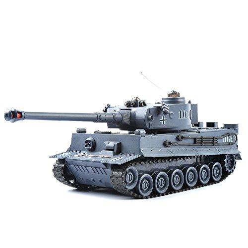 Preisvergleich Produktbild GizmoVine RC Kampfpanzer German Tiger 1:28 Maßstab - Ferngesteuertes Panzer Spielzeug Tank für Kinder, Jungs 40Mhz - Navyblau