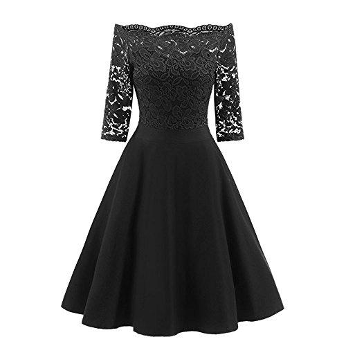TianWlio Kleid Damen Mode Jahrgang Spitzen Patchwork Aus Schulter Cocktailparty Retro Swing Kleid Schwarz XL