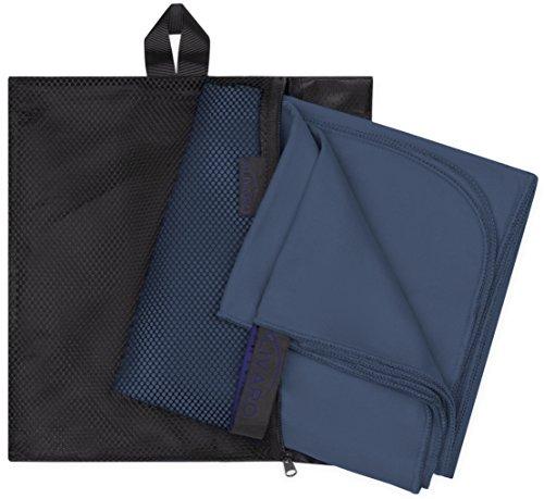 Alivaro Zwei Große Mikrofaser-Handtücher: Weiche, Leichte und saugstarke Microfaser-Handtücher | Optimal für Sport, Reisen, Fitness, Schwimmbad und Sauna, Dunkelblau