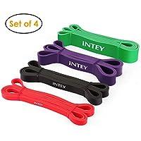INTEY Bandas de Resistencia, 4pcs Bandas Elasticas de Fitness, de Látex Natural, para Entrenamiento de Fuerza, Pilates, Culturismo, Yoga