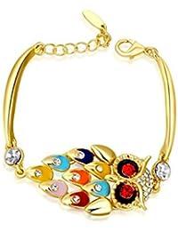 7bf6d237f59c AnazoZ Joyería de Moda Pulseras de Mujer Chapado en Plata Pulseras Para  Mujer Color Oro Cristal