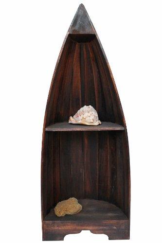Naturesco Exotisches Bootsregal Regal Boot Holz dunkelbraun 95cm