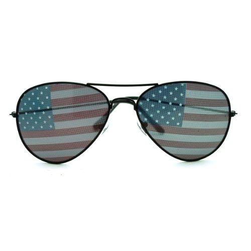 SA106 Patriotische amerikanische Flagge in Print-Objektiv Piloten Sonnenbrille - 2 amerikanische Flagge 5 1/2